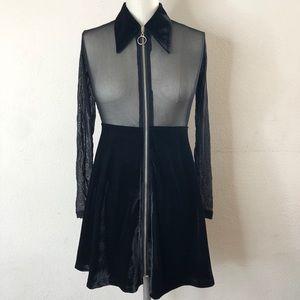 UNIF Black velvet Lolita gothic baby doll dress XS